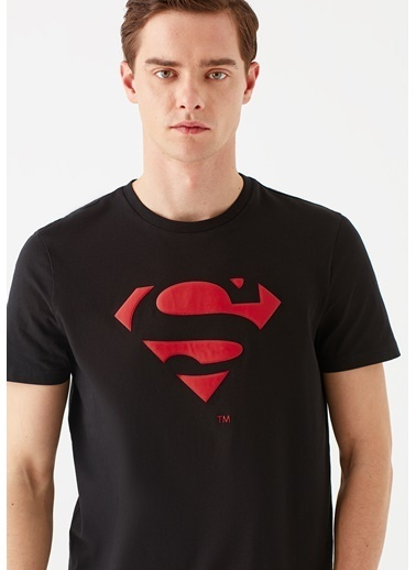 Mavi Superman Baskılı  Tişört Siyah
